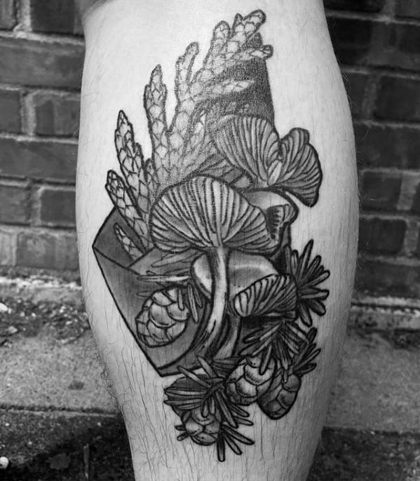 Male With Cool Leg Calf Mushroom Tattoo Design