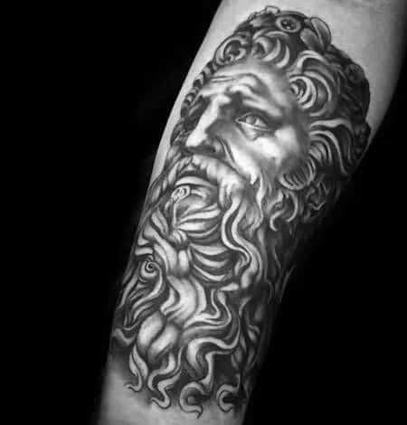 Male With Cool Leg Socrates Tattoo Design