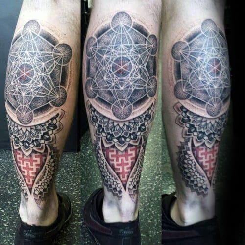 Male With Cool Metatrons Cube Tattoo Design