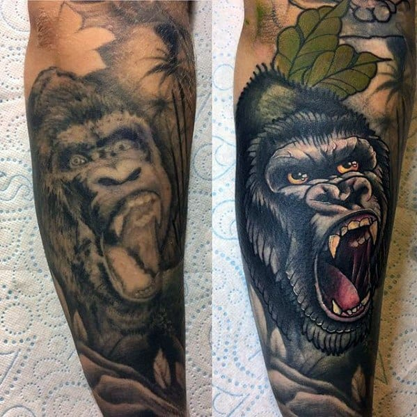 Male With Cool Neo Traditional Gorilla Tattoo Design
