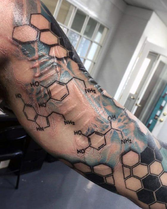 Male With Cool Neuron Tattoo Design