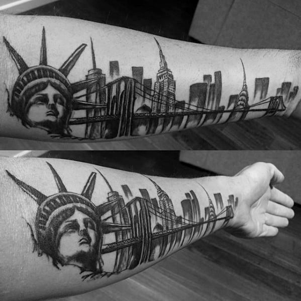 Male With Cool New York Skyline Tattoo Design