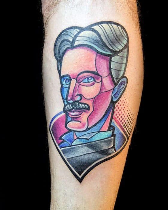 Male With Cool Nikola Tesla Tattoo Design