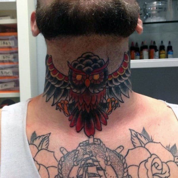Male With Cool Old School Traditional Black Red And Yellow Ink Owl Neck Tattoo Design