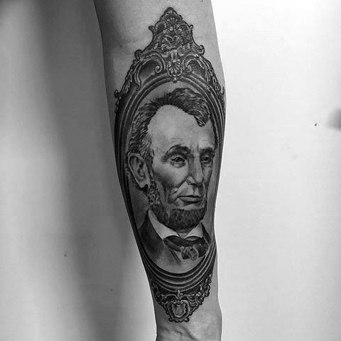 Male With Cool Ornate Inner Forearm Abraham Lincoln Tattoo Design