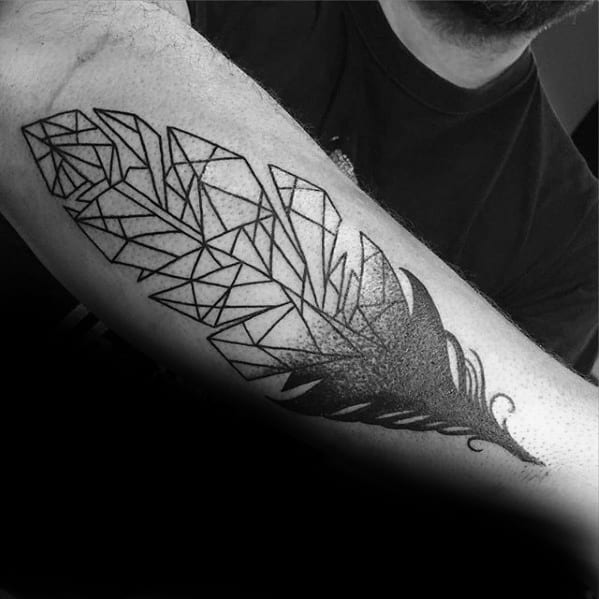 Male With Cool Outer Forearm Geometric Feather Tattoo Design