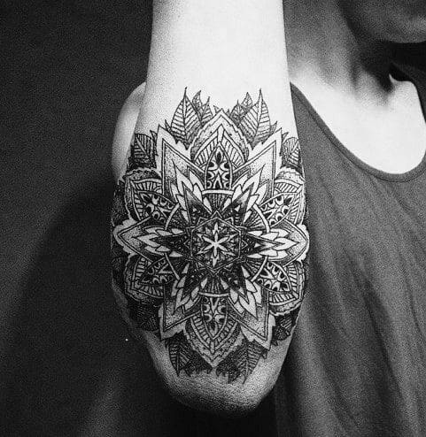 Male With Cool Outer Forearm Mandala Tattoo Design