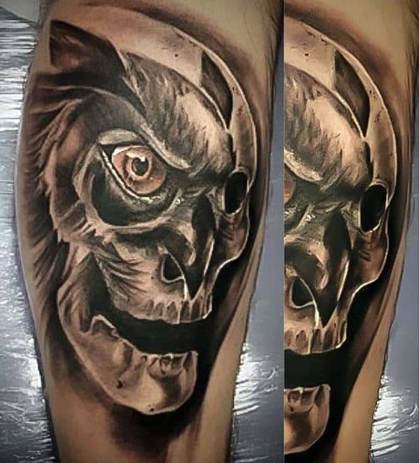 Male With Cool Owl Skull Tattoo Design