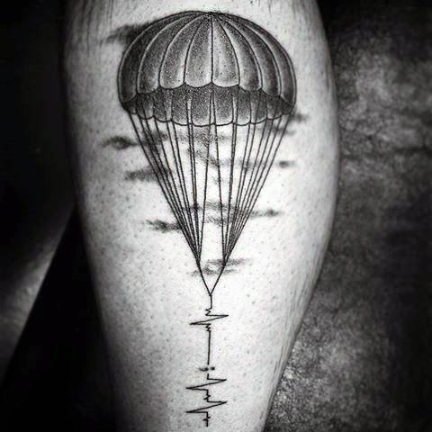 Male With Cool Parachute Heartbeat Leg Tattoo Design