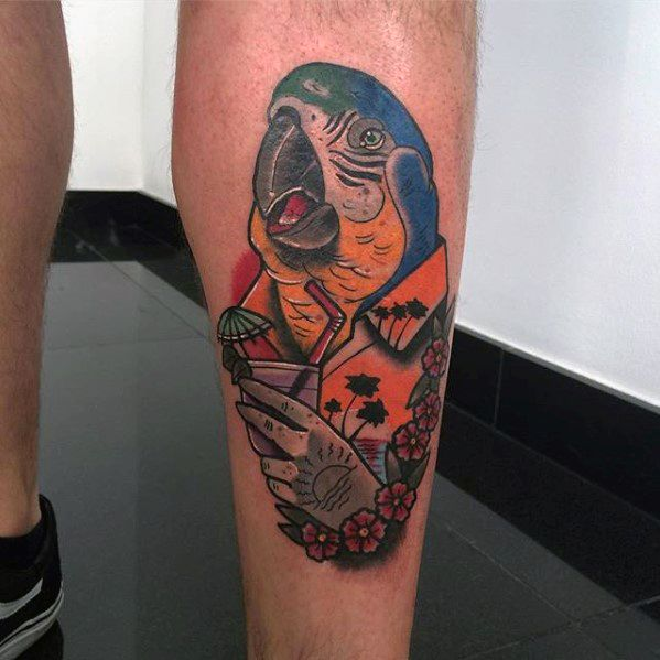 Male With Cool Parrot Tattoo Design Back Of Leg