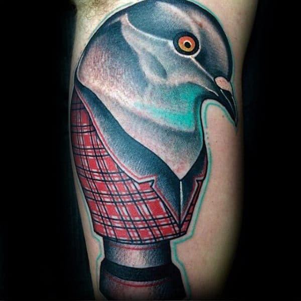 Male With Cool Pigeon Tattoo Design