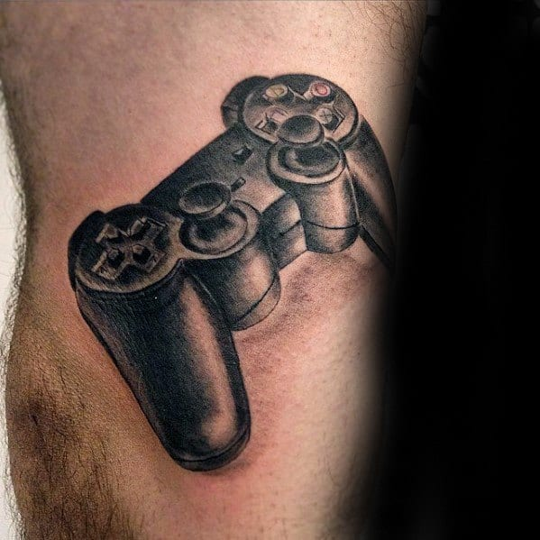 Male With Cool Playstation Tattoo Design On Leg