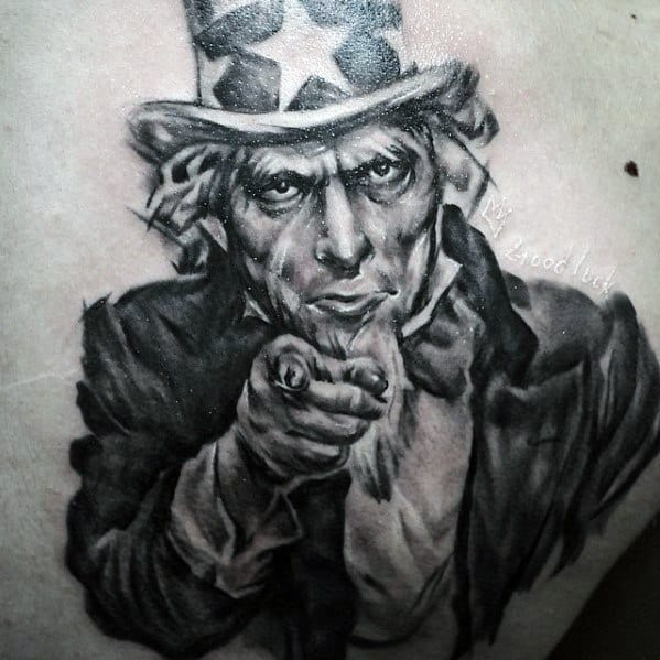Male With Cool Realistic 3d Back Uncle Sam Tattoo Design