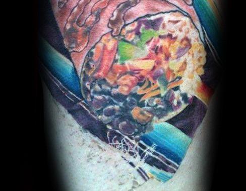 Male With Cool Realistic 3d Burrito Tattoo Design