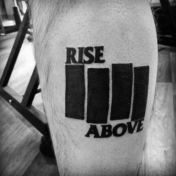 Male With Cool Rise Above Black Flag Tattoo Design