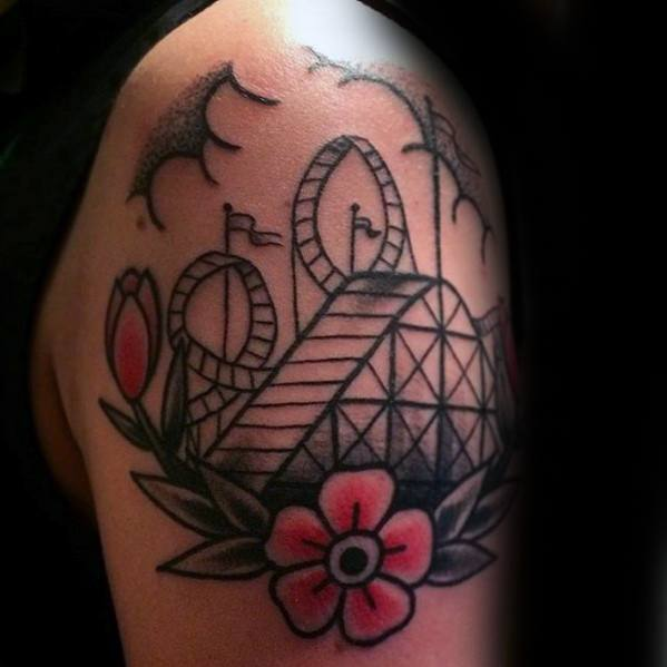 Male With Cool Roller Coaster Tattoo Design