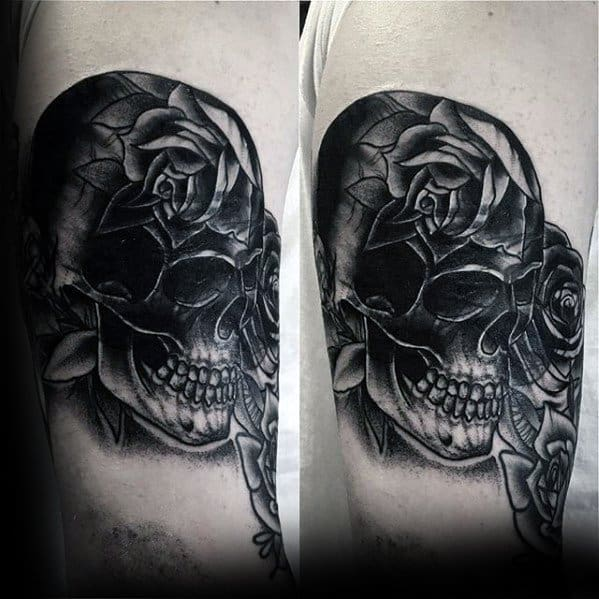 Male With Cool Rose Flower Skull Blast Over Tattoo Design On Arm