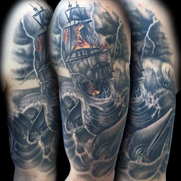Male With Cool Sailing Ship Thunderstorm Tattoo Design On Arm