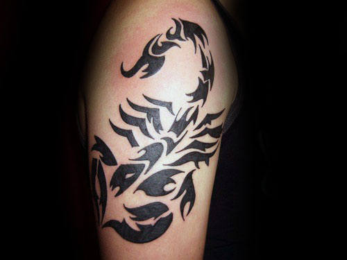 Male With Cool Scorpion Arm Tribal Tattoo Design
