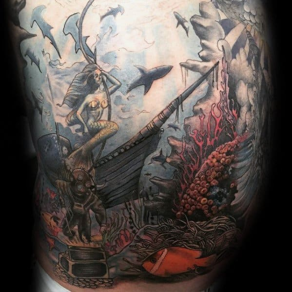 Male With Cool Shipwreck Chest Tattoo Design