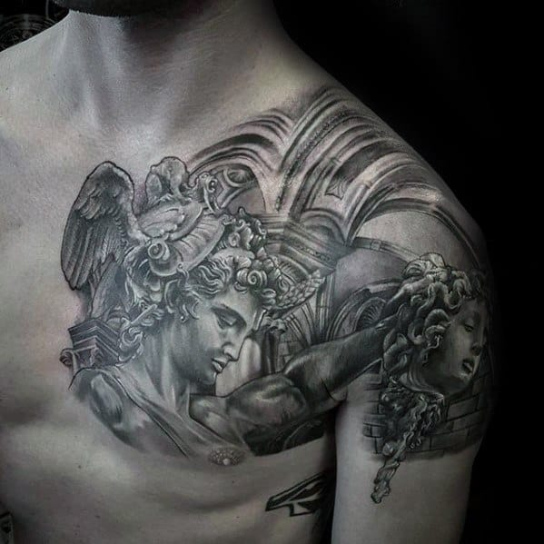 Male With Cool Shoulder 3d Perseus Tattoo Design