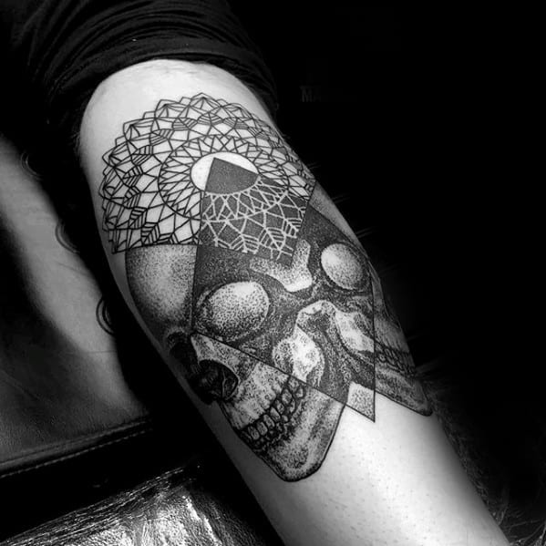 Male With Cool Skulls Geometric Forearm Tattoo Design