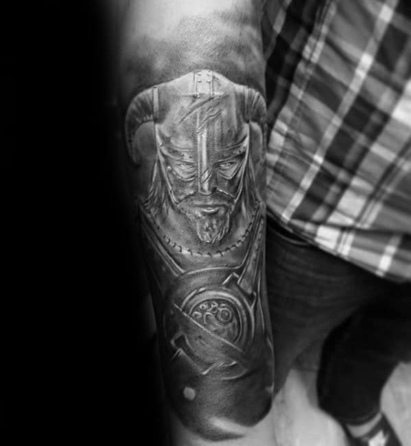 Male With Cool Skyrim Tattoo Design Forearm Sleeve