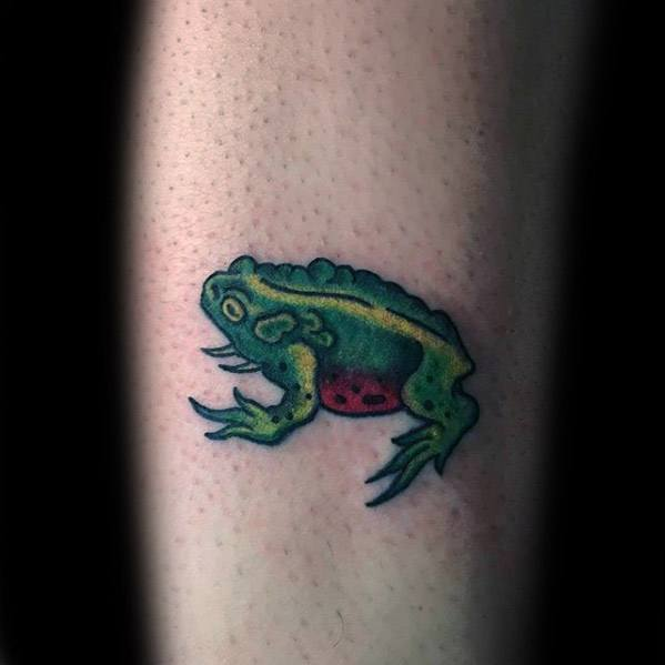 Male With Cool Small Toad Inner Forearm Tattoo Design