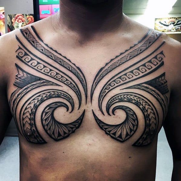 Male With Cool Spiral Chest Awesome Tribal Tattoo Design