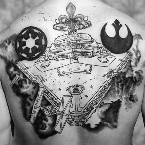Male With Cool Star Destroyer Tattoo Design