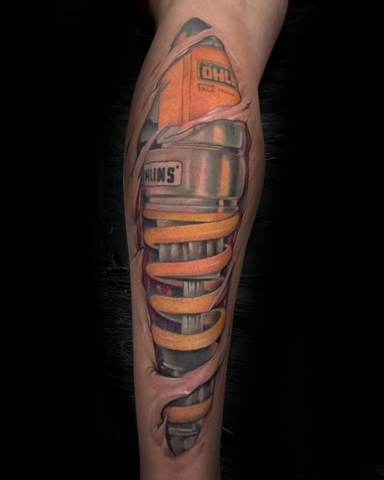 Male With Cool Suspension Tattoo Design On Leg