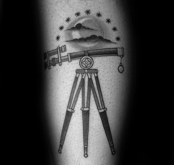 Male With Cool Telescope Tattoo Design On Arm