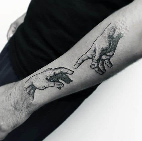 Male With Cool The Creation Of Adam Tattoo Design Outer Forearm