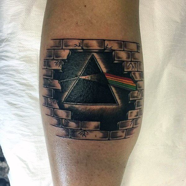 Male With Cool The Dark Side Of The Moon Pink Floyd Tattoo Design Leg Calf