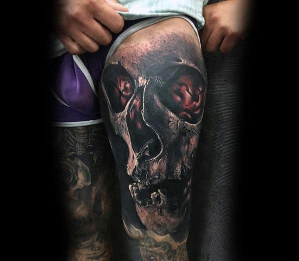 Male With Cool Thigh Badass Skull Tattoo Design