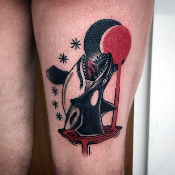 Male With Cool Thigh Red And Black Orca Tattoo Design