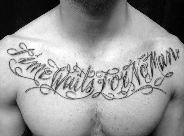 Male With Cool Time Waits For No Man Tattoo Design