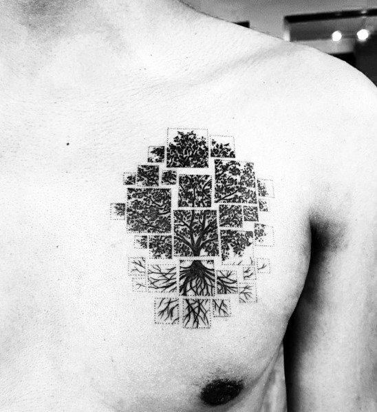 Male With Cool Tree Tattoos