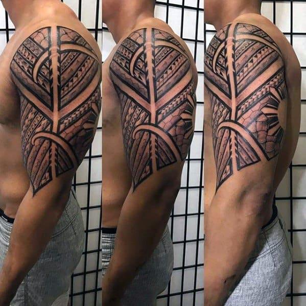 Male With Cool Tribal Half Sleeve Filipino Sun Tattoo Design
