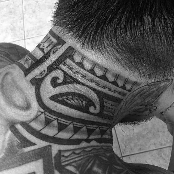 Male With Cool Tribal Polynesian Neck Tattoo Design