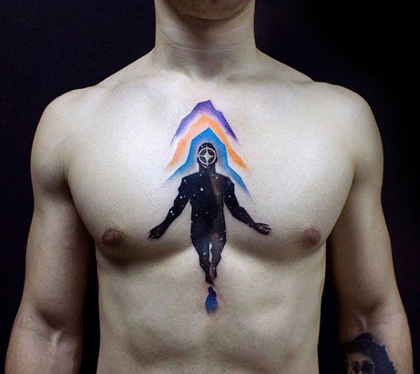 Male With Cool Trippy Tattoo Design