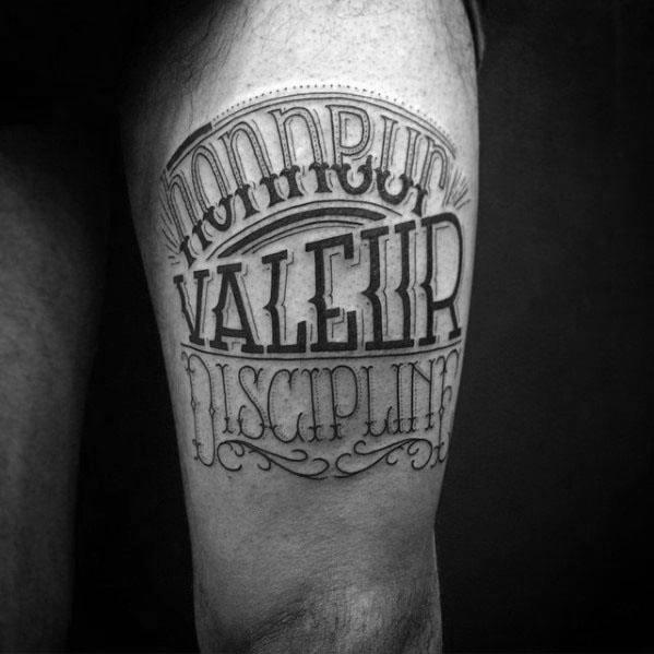 Male With Cool Typography Tattoo Design Thigh