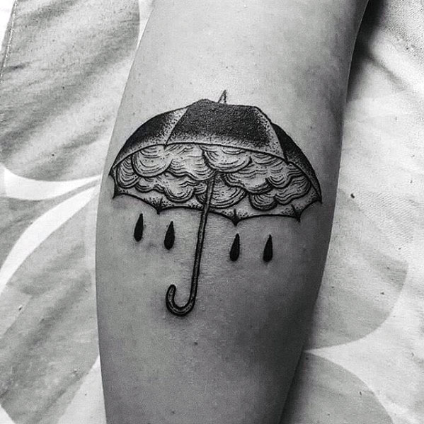 Male With Cool Umbrella Tattoo Design On Leg Calf