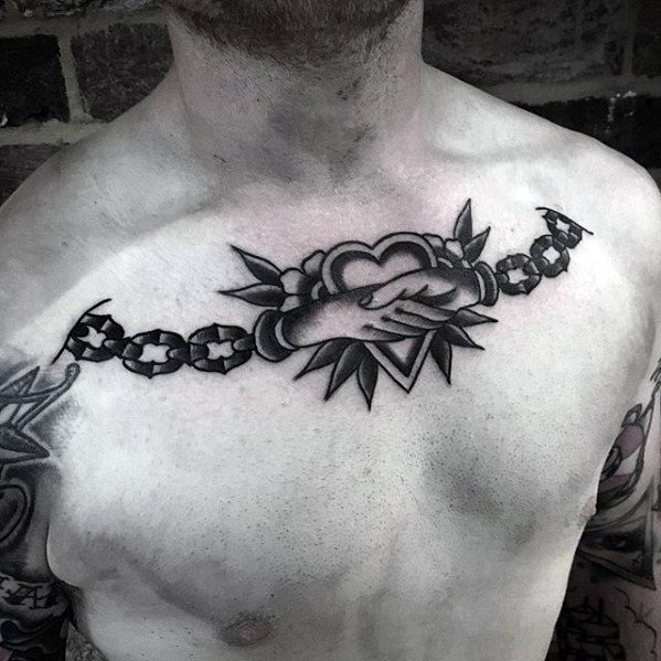 Male With Cool Upper Chest Traditional Chains Handshake Tattoo Design