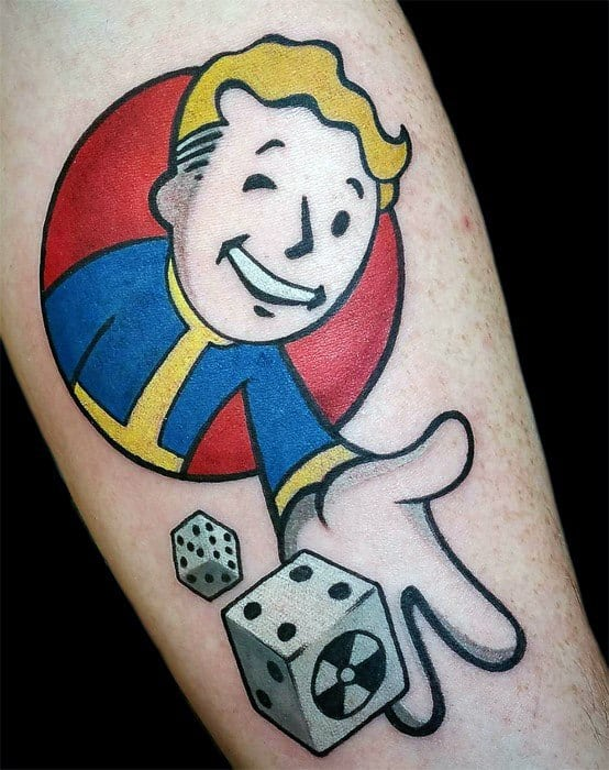Male With Cool Vault Boy Tattoo Design