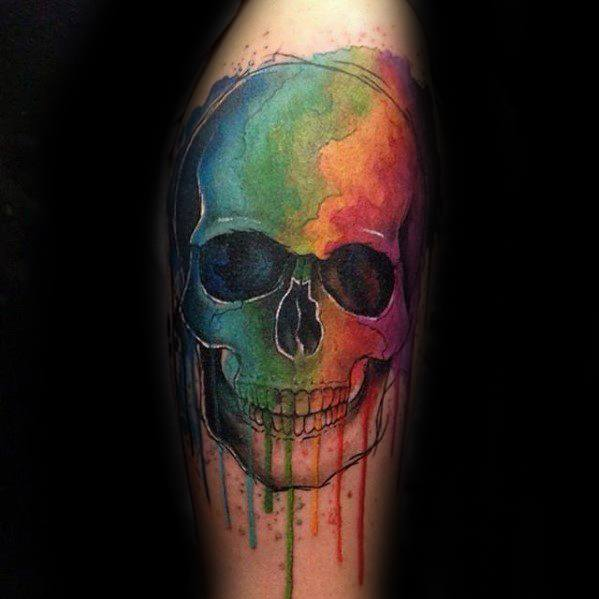 Male With Cool Watercolor Skull Tattoo Design On Arm