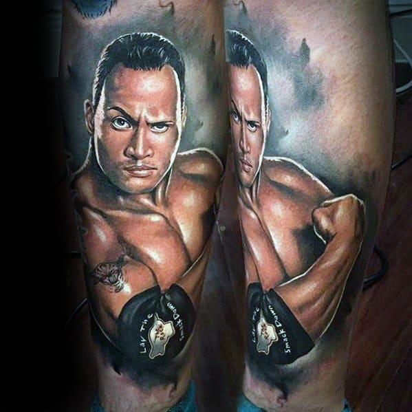 Male With Cool Wrestling Leg 3d Tattoo Design