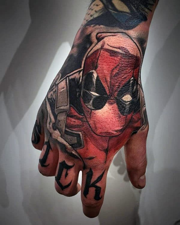 Male With Deadpool Hand Tattoo Design