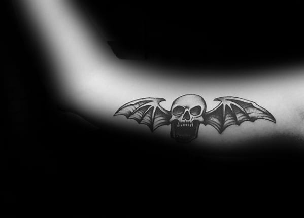 Male With Deathbat Inner Arm Tattoo