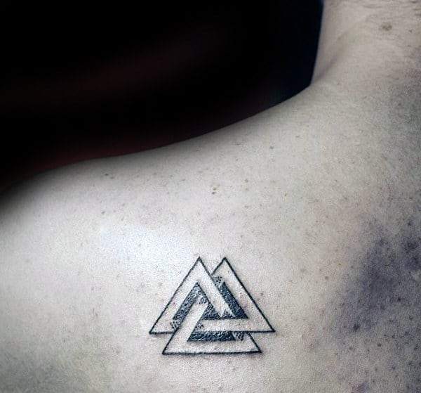Male With Dotwork Black Ink Lines Valknut Shoulder Blade Tattoo